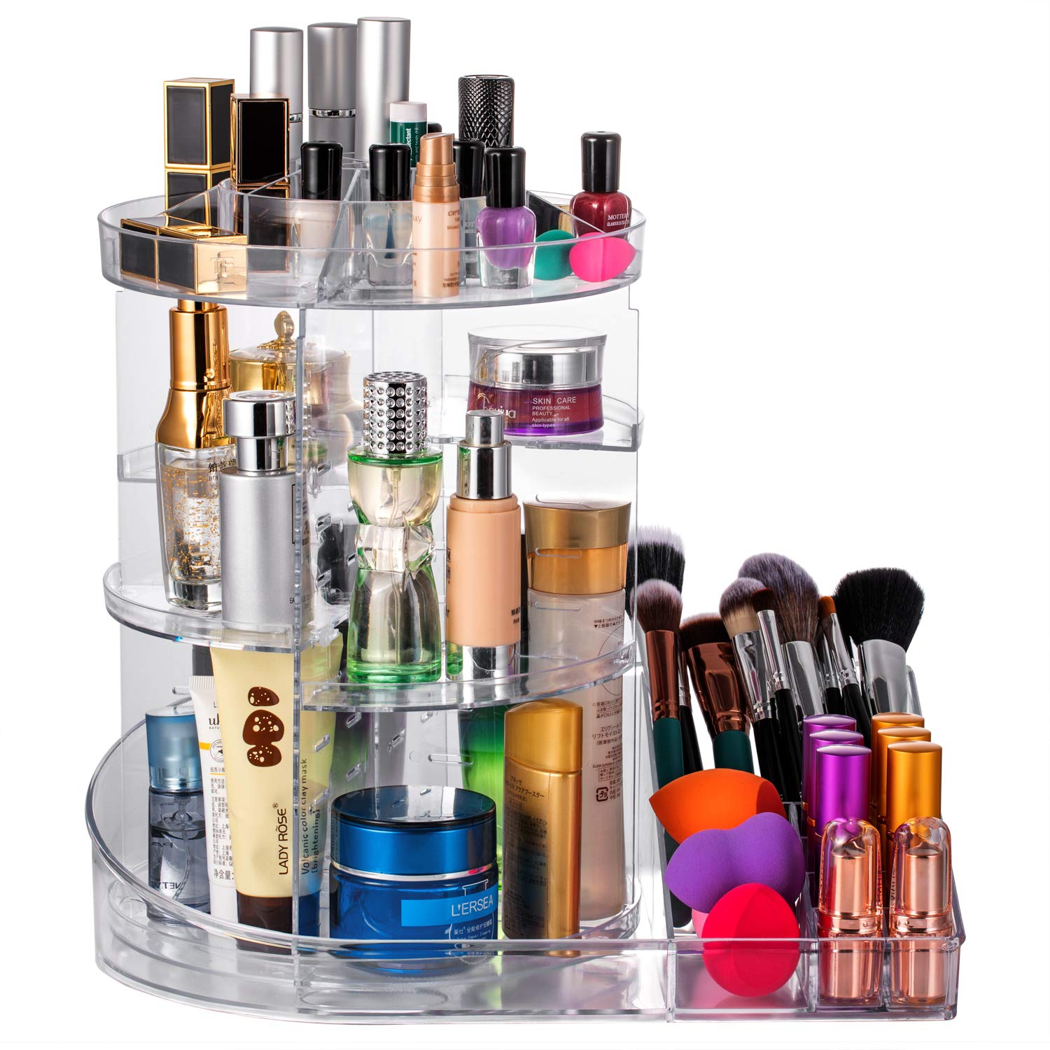 DreamGenius Makeup Organizer 360-Degree Rotating Adjustable Carousel with Tray for Cosmetics Multi-Function Acrylic Makeup Storage Black