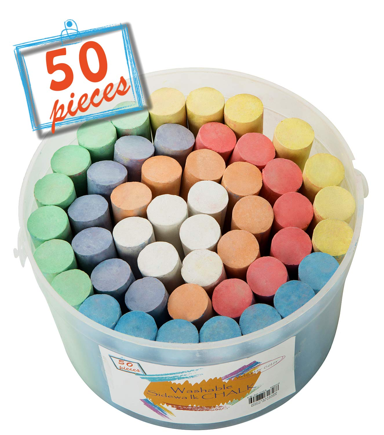 (50 ct Box) Sidewalk Chalk Set Non-Toxic Dustless Chalk Colorful(50 ct Box) SOTEN