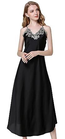 6b0d9d7ff82c Avitalk Women's Nightdress Lace Satin Nightgowns Lingerie Full Slip Nightie  Gown Breathable Long Chemise Sleepwear Black