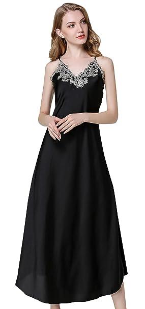 Aivtalk - Mujer Pijama de Seda Vestido Camisòn de Dormir Elegante Encaje Color de Negro -