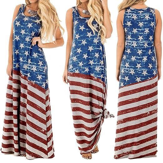 7b3c8fdb5d38 Women Stars Striped Flag Print Sleeveless Vest Long Maxi Dress Casual Beach  Dress (Blue,