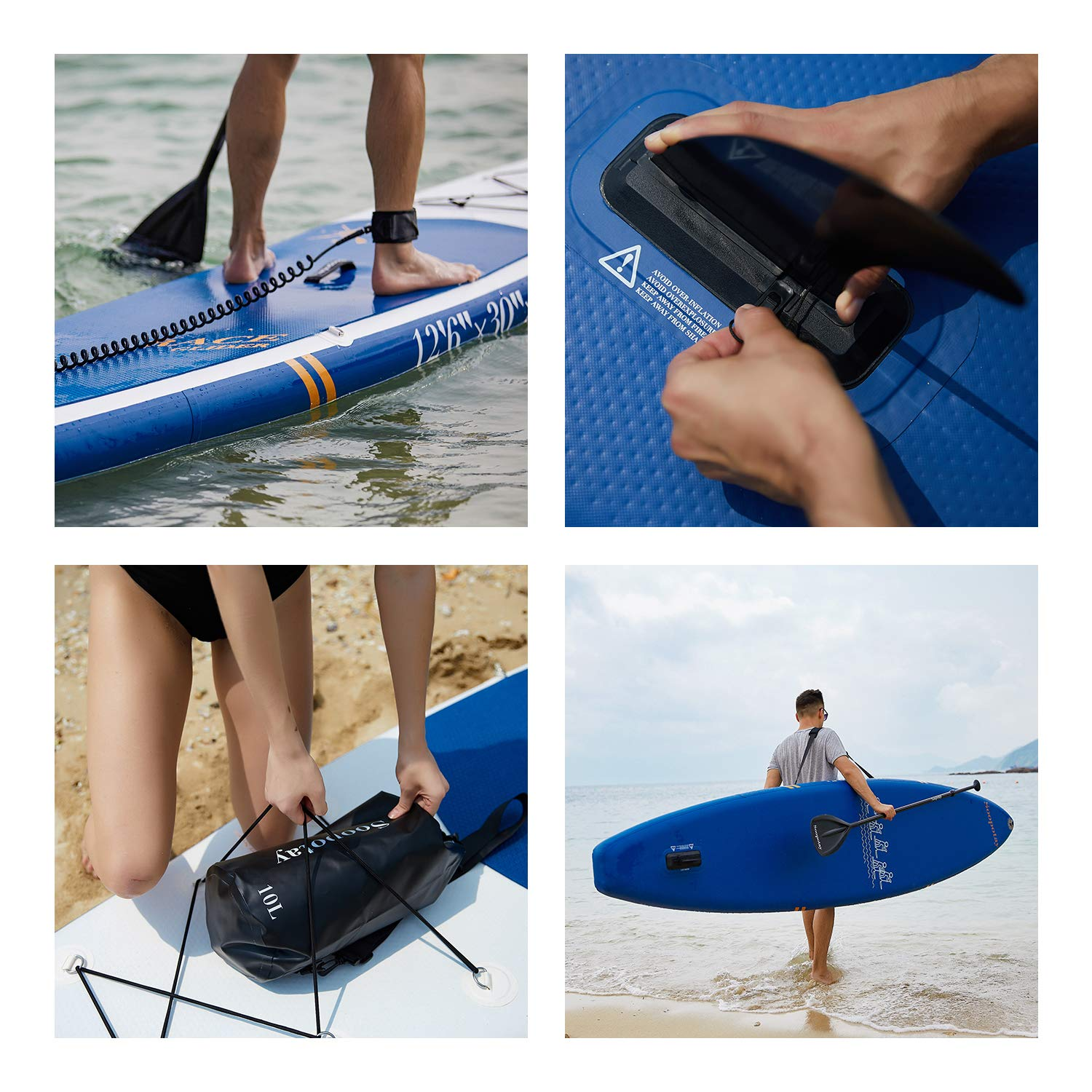 Inflatable SUP Stand Up Paddle Board, Inflatable SUP Board, iSUP Package with All Accessories (Racing-Navy Blue-12'6'' x 30'' x 6'') by Soopotay (Image #3)