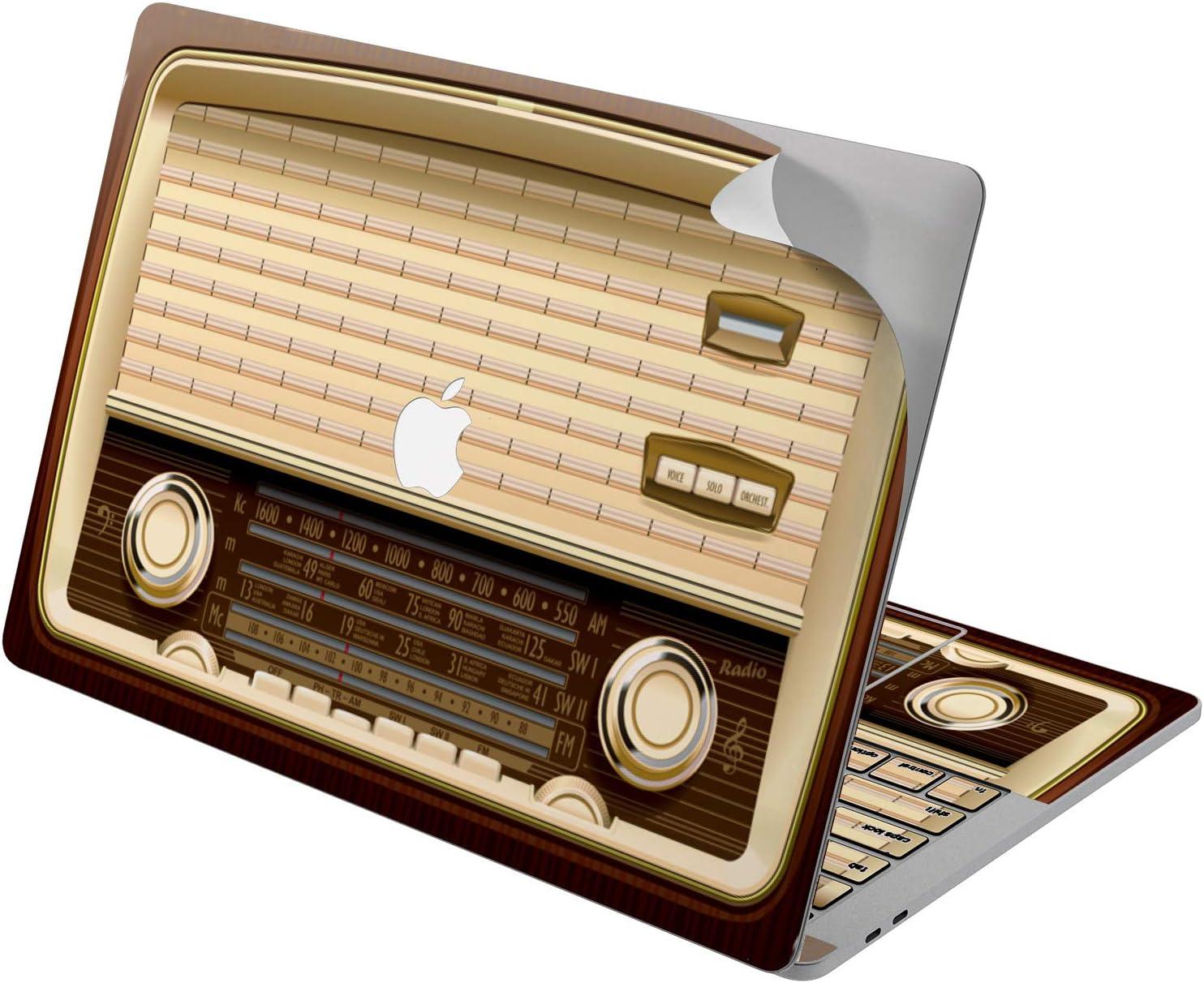"Cavka Vinyl Decal Skin for Apple MacBook Pro 13"" 2019 15"" 2018 Air 13"" 2020 Retina 2015 Mac 11"" Mac 12"" Print Unique Radio Sticker Pattern Protective Vintage Design Cover Old Fashioned Laptop Retro"