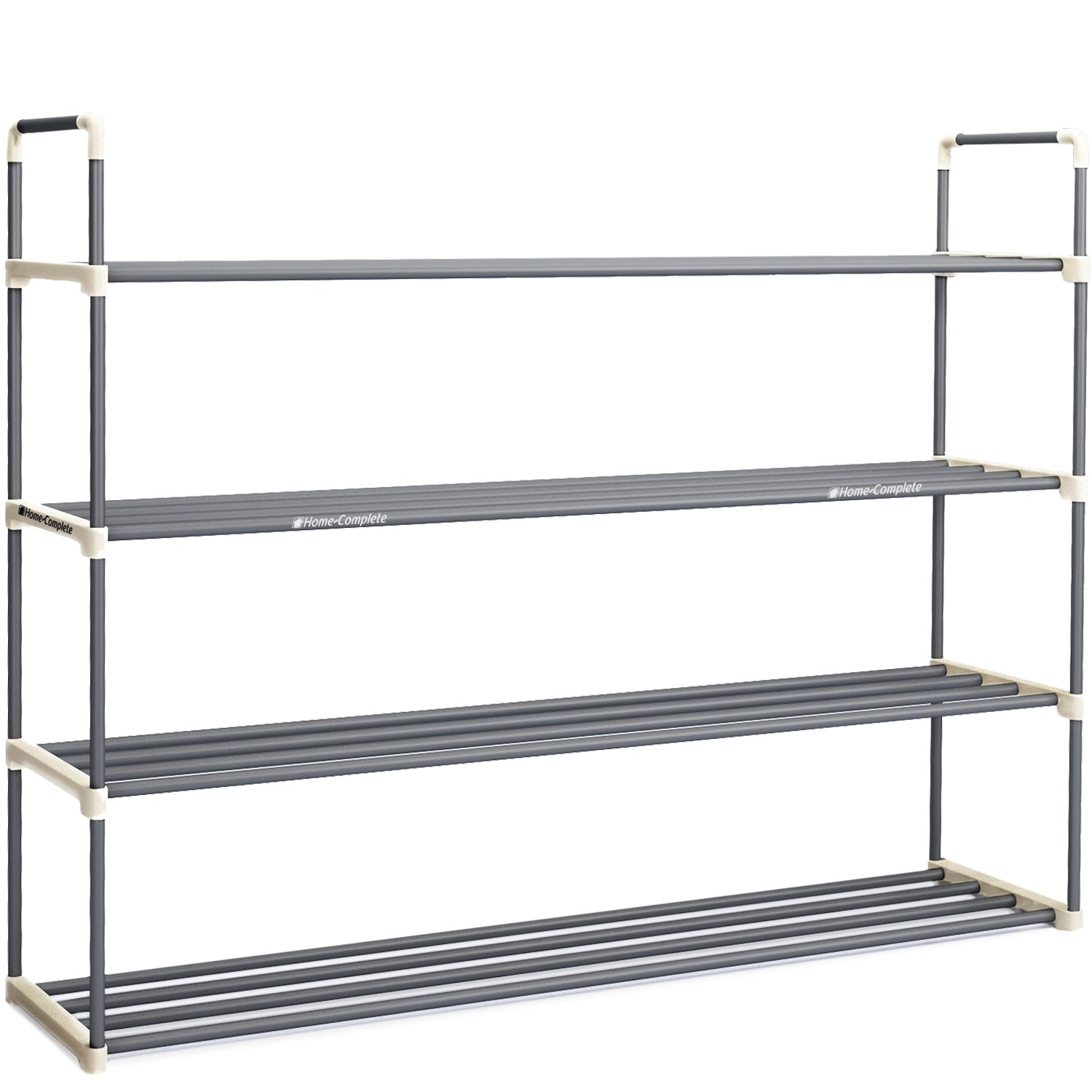 Shoe Rack with 4 Shelves-Four Tiers for 24 Pairs-For Bedroom, Entryway, Hallway, and Closet- Space Saving Storage and Organization by Home-Complete