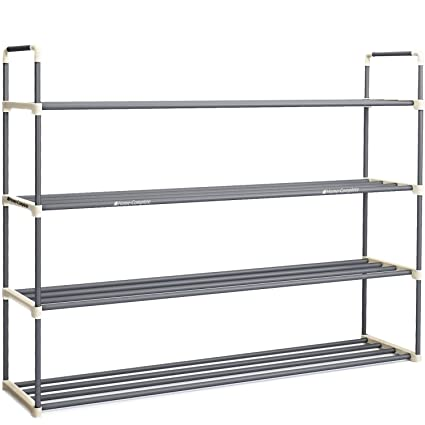 Attirant 4 Tier Shoe Rack Organizer Storage Bench   Holds 24 Pairs   Organize Your  Closet