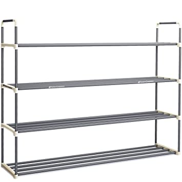 Amazon.com: 4-Tier Shoe Rack Organizer Storage Bench - Holds 24 ...