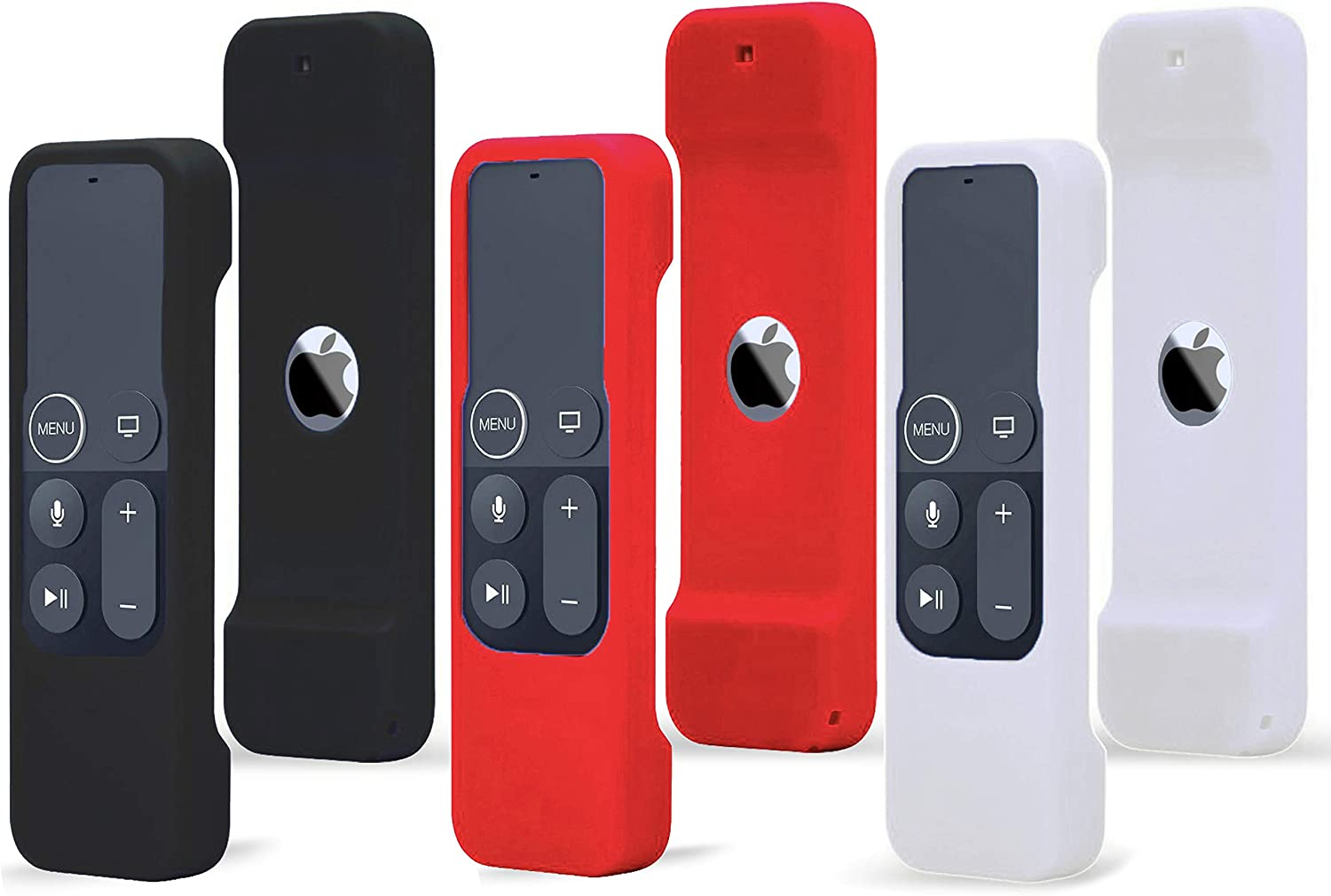 TOKERSE 3 Pack Silicone Cover Compatible with Apple TV 4K 5th / HD 4th Generation Siri Remote - Remote Case Cover Compatible with Apple TV HD 4th 4K 5th Gen Siri Remote Controls - Black Red White