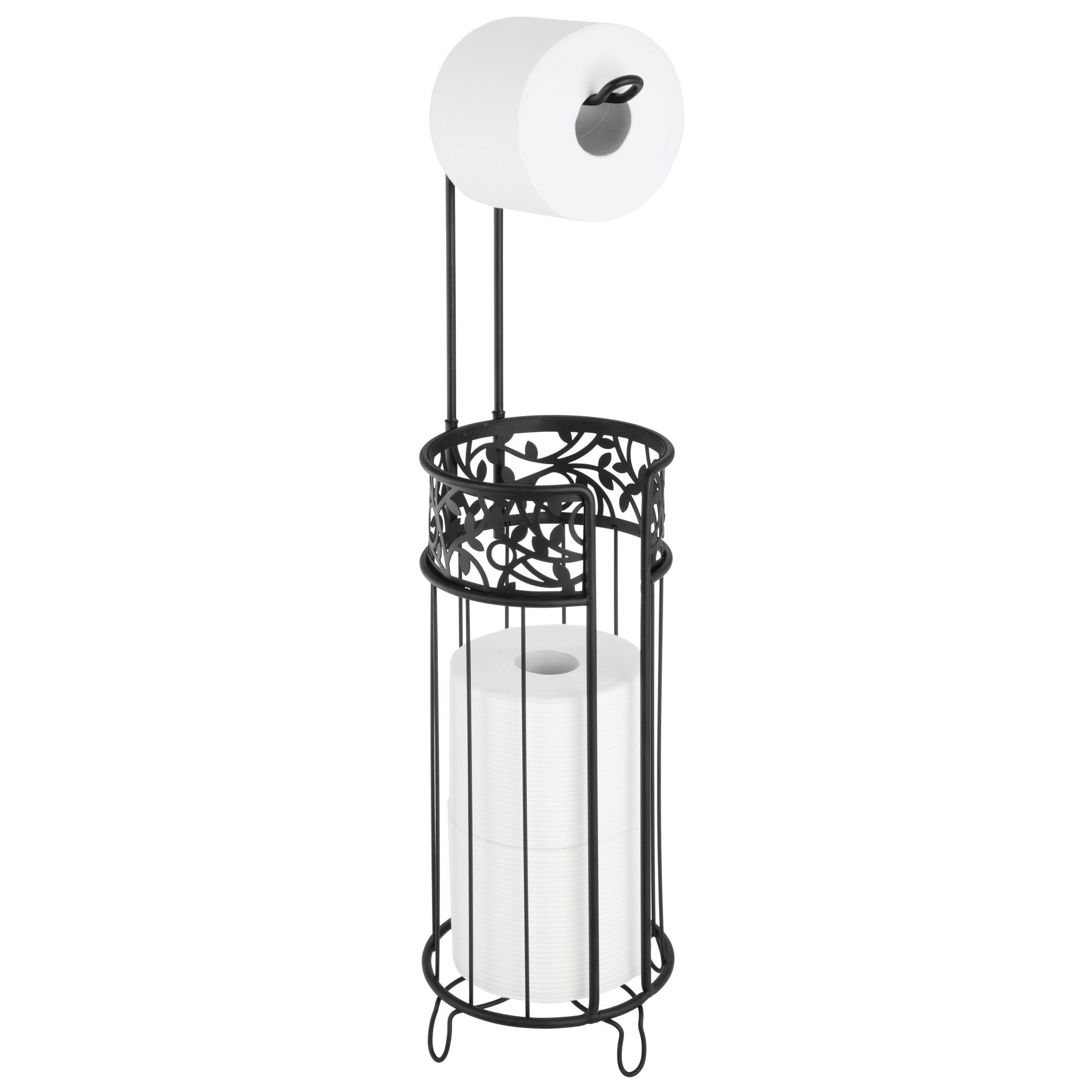mDesign Tall Free Standing Toilet Paper Holder Stand and Dispenser, with Storage for 3 Spare Rolls of Toilet Tissue While Dispensing 1 Roll - for Bathrooms/Powder Rooms - Holds Mega Rolls - Black
