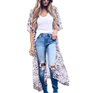 Zexxxy Women Floral Print Kimono Sheer Chiffon Cardigan Half Sleeve Cover Up