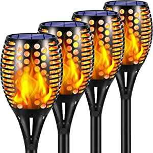 Sunenvoy Solar Torch Lights Upgraded, Waterproof Flickering Flame Solar Torches Dancing Flames Landscape Decoration Lighting Dusk to Dawn Outdoor Security Solar Light for Garden Patio (4 Pack)
