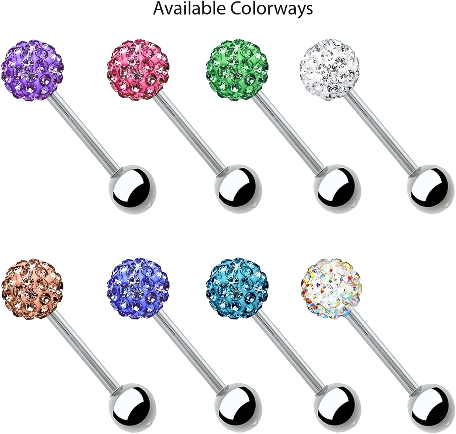 Crystal Pill Shaped Surgical Steel Metal Ring Tongue Piercing Bar Cylinder Stud