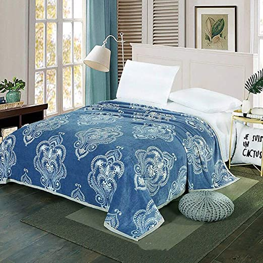 Amazon Com Wustegccf Travel Flannel Blanket Car Travel Blanket Bed Sheet Blanket Air Conditioned Blanket Cool Summer Quilt Summer Cool Leisure Blanket 200 230cm 78 74in 90 55in Blue2 Home Kitchen