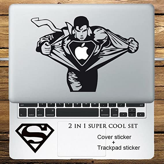 Circle Love Computer Decals Angry Super Man 2 In 1 Cover Sticker + Trackpad Stickers Set