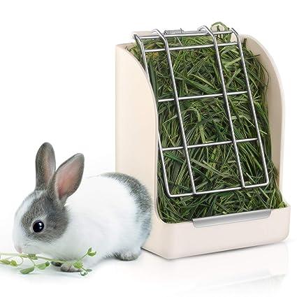 POPETPOP Comedero de Heno de Conejo/Estante - Jaula de Conejo de ...