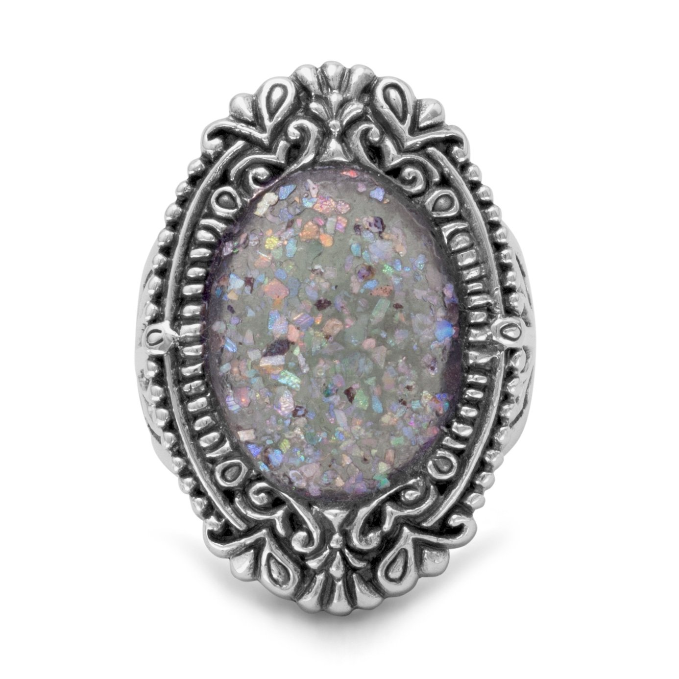 925 Sterling Silver Ornate Oval Roman Glass Ring - Size 6