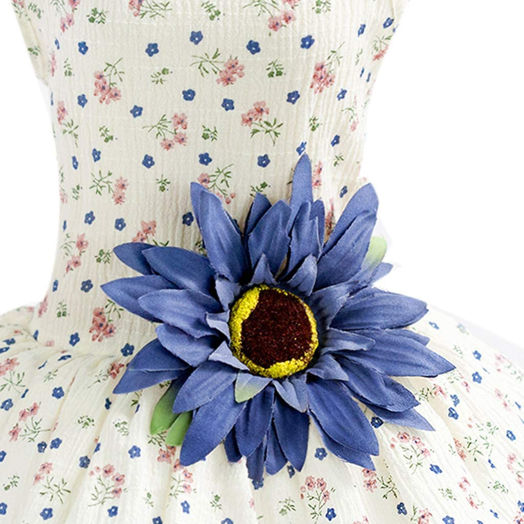 Pet Clothes Sunflower Patchwork Floral Pattern Printed Strappy Gauze Princess Tutu Dress for Puppy Dog Cat