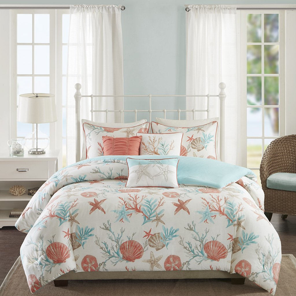 Amazon.com: Madison Park   Pebble Beach 6 Piece Cotton Duvet Cover Set    Coral   Full/ Queen   Coastal Theme   Includes 1 Duvet Cover, 3 Decorative  Pillows, ...