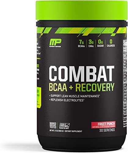 MusclePharm Combat BCAA Recovery, BCAA 10 Grams, Electrolytes, Post-Workout Recovery, BCAA Post-Workout Powder, Enhanced Recovery, Pre-Workout Formula, Fruit Punch, 1.99-Pounds, 30 Servings