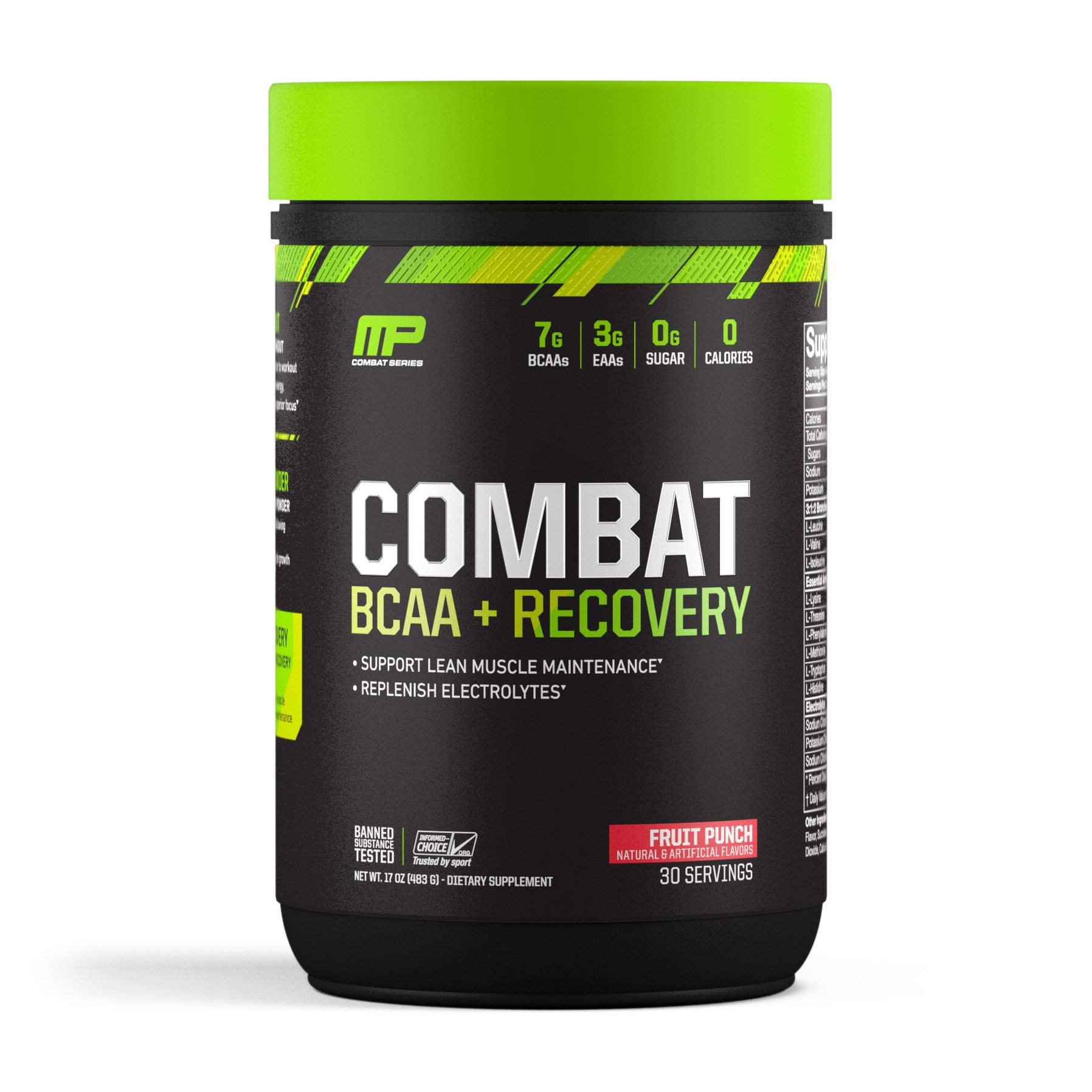 MusclePharm Combat BCAA + Recovery – 10 G of BCAAs and EAAs to Support Recovery, Muscle Development, Replenish Electrolytes, and Support Lean Muscle Maintenance, Fruit Punch, 30 Servings