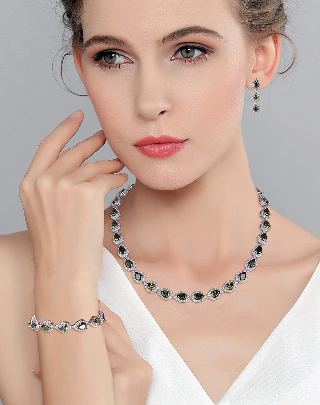 Chunky silver tone with colorless crystals necklace and matching earrings womens jewelry set