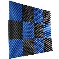 "New Level 12 Pack- Ice Blue/Charcoal Acoustic Panels Studio Foam Egg Crate 1"" X 12"" X 12"""