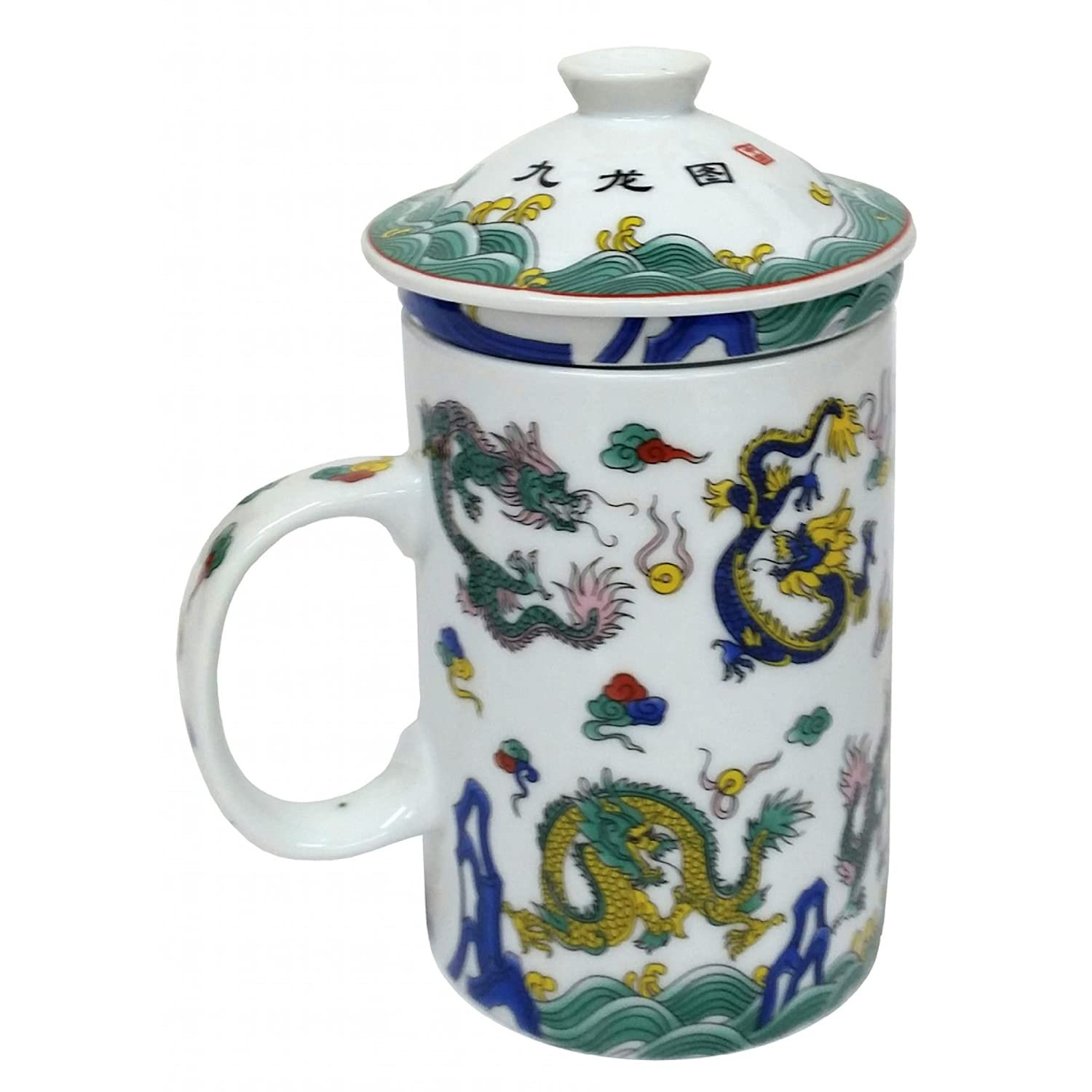 FSH264F Feng Shui Chinese Porcelain Mug Tea Cup with Lid: Eight Dragons Green