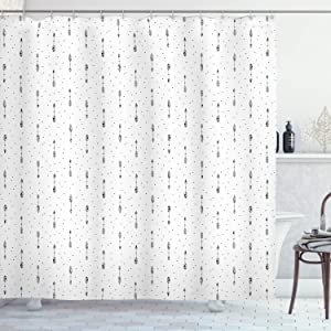 """Ambesonne Abstract Shower Curtain, Minimalist Arrow Pattern with Polka Dots Design, Cloth Fabric Bathroom Decor Set with Hooks, 70"""" Long, Black White"""