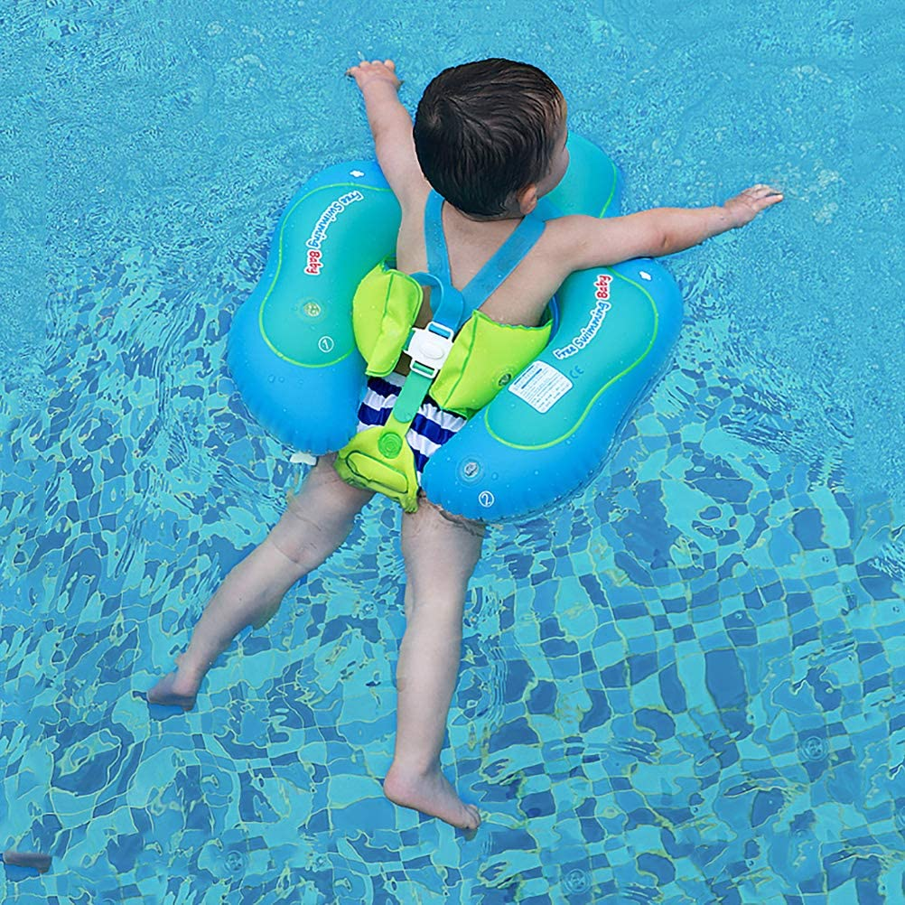 Free Swimming Baby Inflatable Baby Swimming Float with Safe Bottom Support and Swim Buoy Floats for Safer Swims(New Version, S)