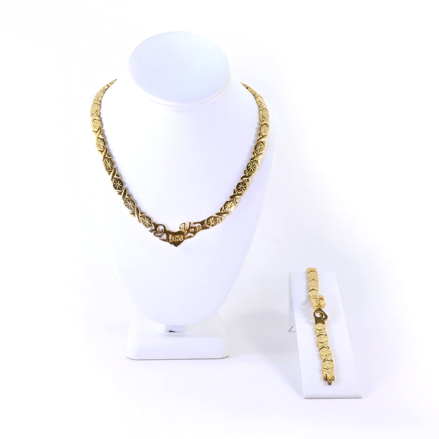 I LOVE YOU GOLD TONE HUGS AND KISSES NECKLACE /& BRACELET SET XOXO STARBURST 20 LONG Bling Bling NY NA