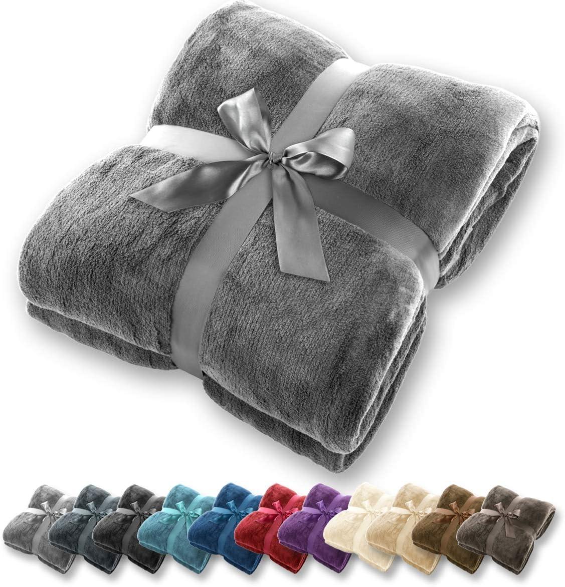 Manta Gräfenstayn® - Muchos tamaños y colores diferentes - Manta de microfibra Manta para sala de estar Manta para cama - Fibra polar de microfibra de franela (Gris, 240x220 cm)