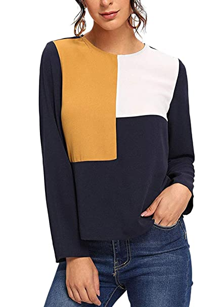 a8c7465a4d158e Milumia Women's Color Block Round Neck Long Sleeve Tunic Pullover Blouse Top  Multicolor XS