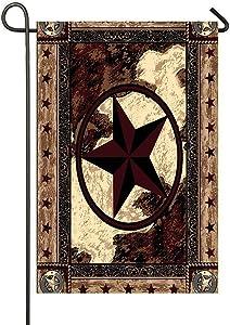 PANQJN Western Texas Star Garden Flag 12 x 18 Inch Double Sided Home Decor