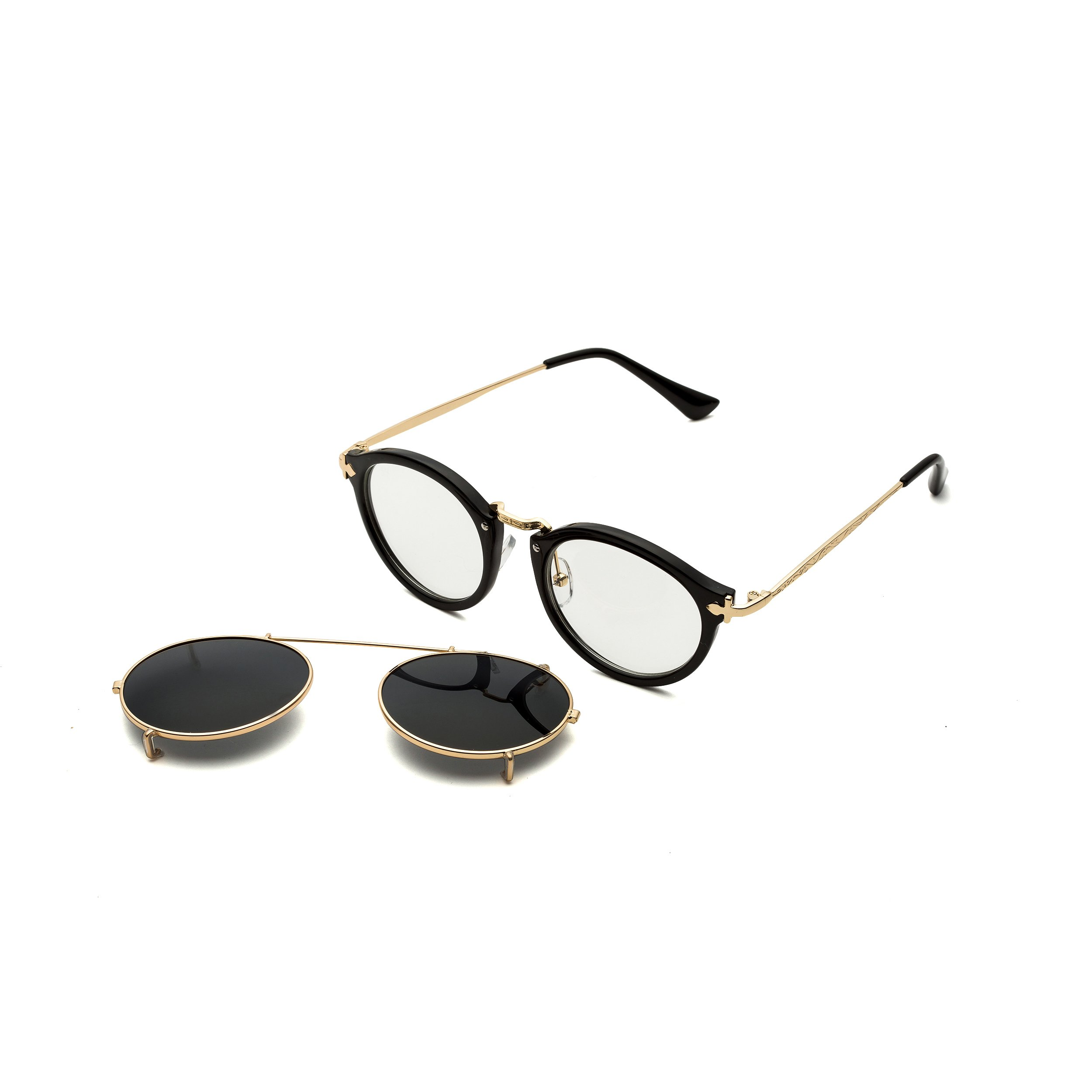 330bd1cce50 Dollger Double Lens Flip up Clip On Sunglasses Steampunk Style and Round  Black Glasses for Men   Sunglasses   Clothing