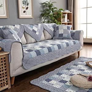 Sofa slipcover Patchwork Printed Furniture Protector,not-Slip Reversible Quilted Stain Resistant Cotton Couch Sofa Cover Multi-Size for Pet Kid-Blue 110x180cm(43x71inch)