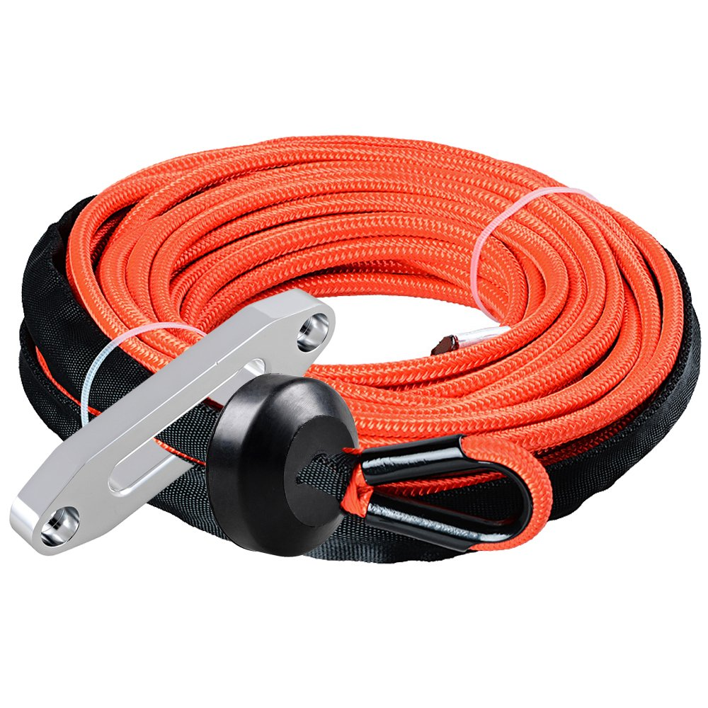 Astra Depot 50ft x 1//4 inch Red Rock Protection Heat Guard Synthetic Winch Rope Cable 7000LBS w//Rubber Stopper Blue Winch Fairlead Car ATV UTV Ramsey KFI