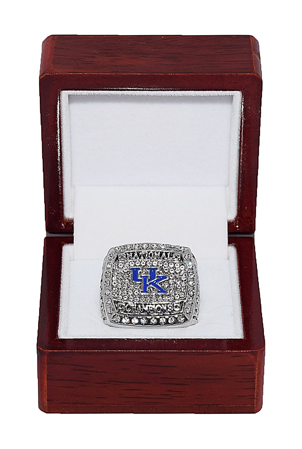 University of Kentucky Wildcats 2012 March Madness NCAA NATIONAL CHAMPIONS Rare & Collectible High Quality Replica NCAA Basketball Silver Championship Ring with Cherrywood Display Box