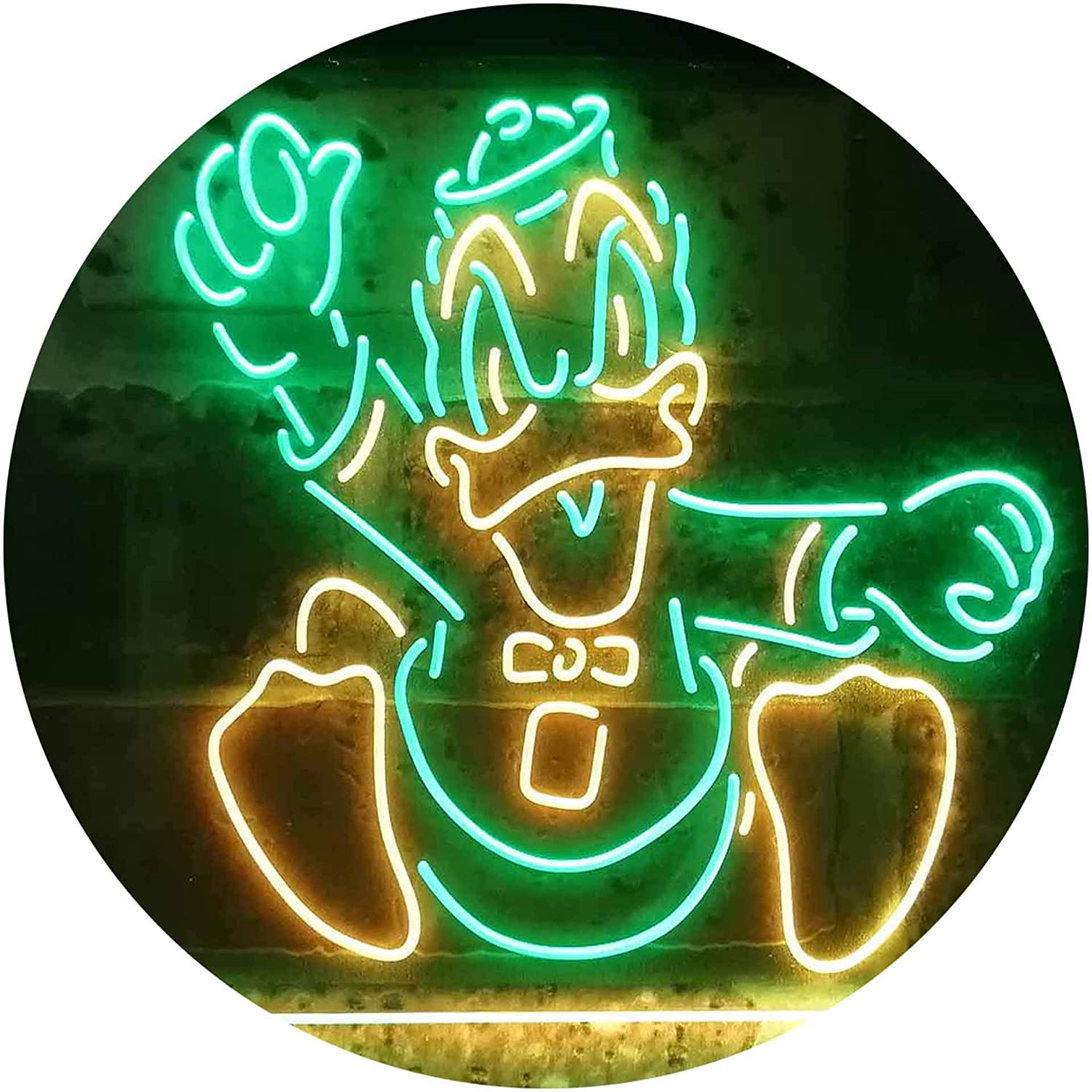 TeroLED Oregon Ducks Alternate Colorful LED Neon Sign Green and Yellow w16 x h12