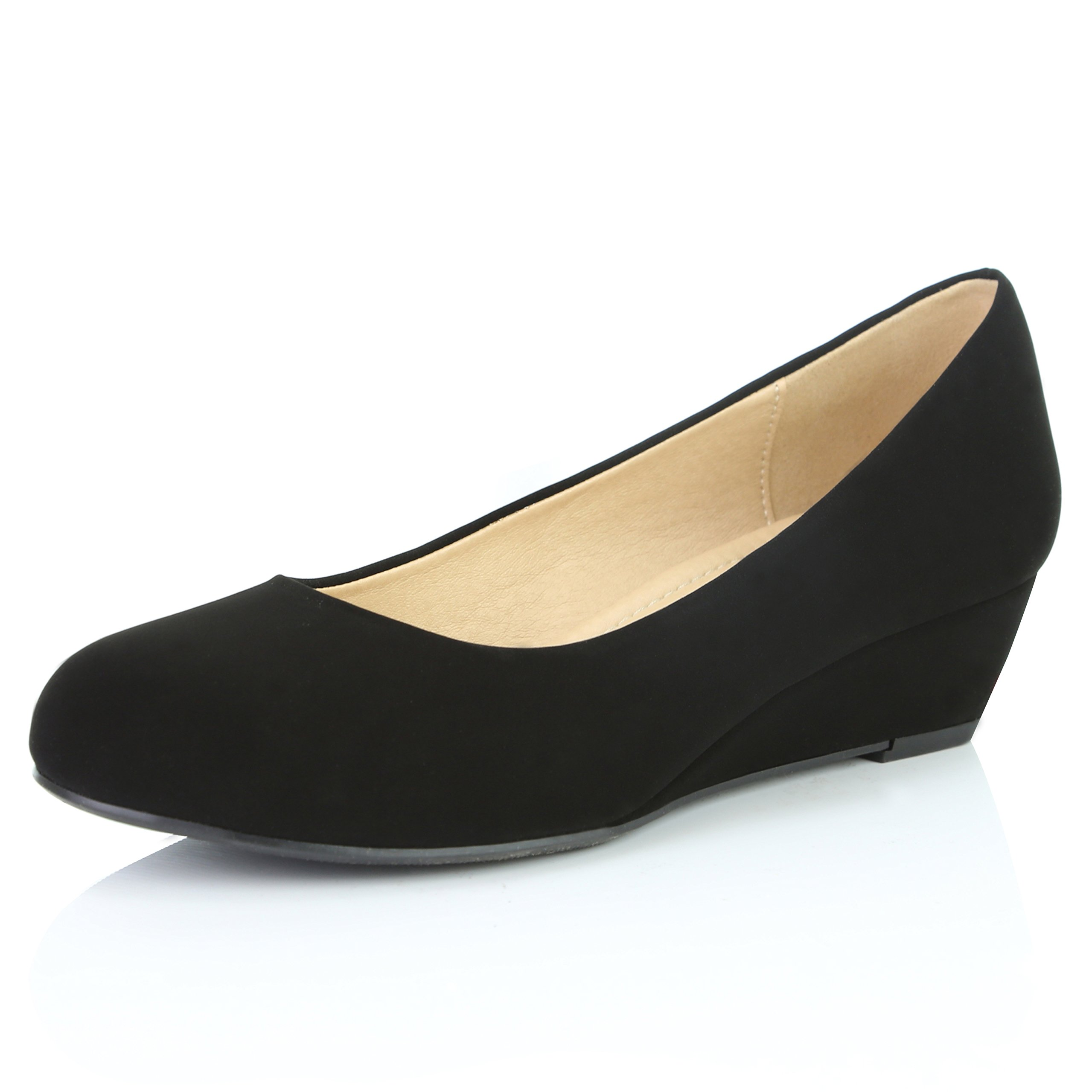 DailyShoes Women's Comfortable Fashion Low Heels Round Toe Wedge Pumps Shoes, Black Nubuck PU Leather, 8 B(M) US by DailyShoes (Image #1)