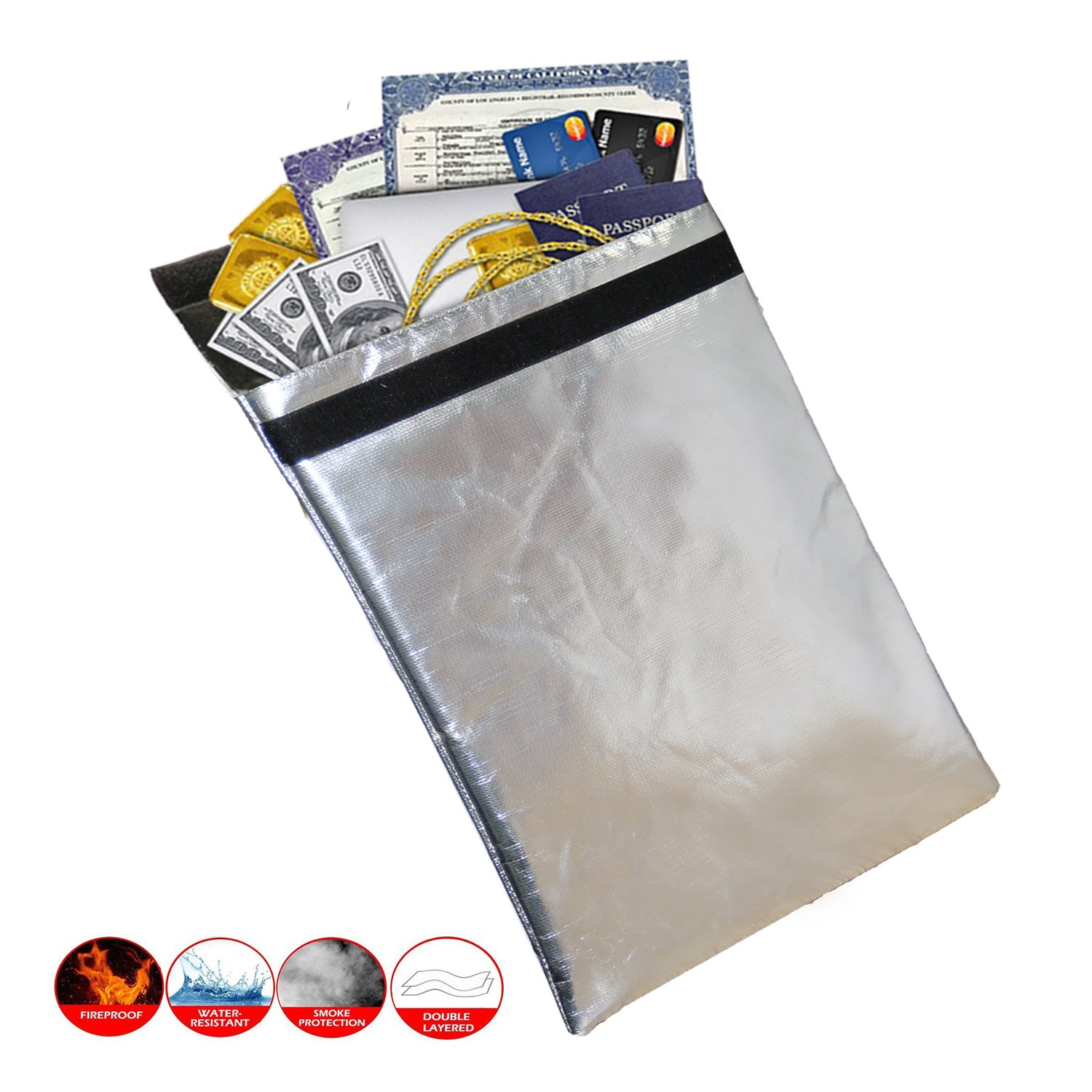 Fireproof Safe Bag, Fire Resistant Document Bag Pouch Safe Storage to Protect Money Documents Passport Legal Documents Cash Double Layer Fiberglass Non Itchy & Insulation
