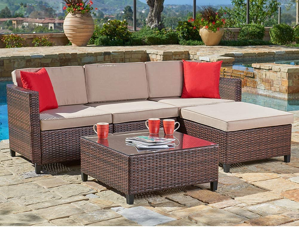 SUNCROWN Outdoor Sectional Sofa 5-Piece Set All-Weather Brown Checkered Wicker Furniture with Brown Seat Cushions and Modern Glass Coffee Table, Patio, Backyard, Pool