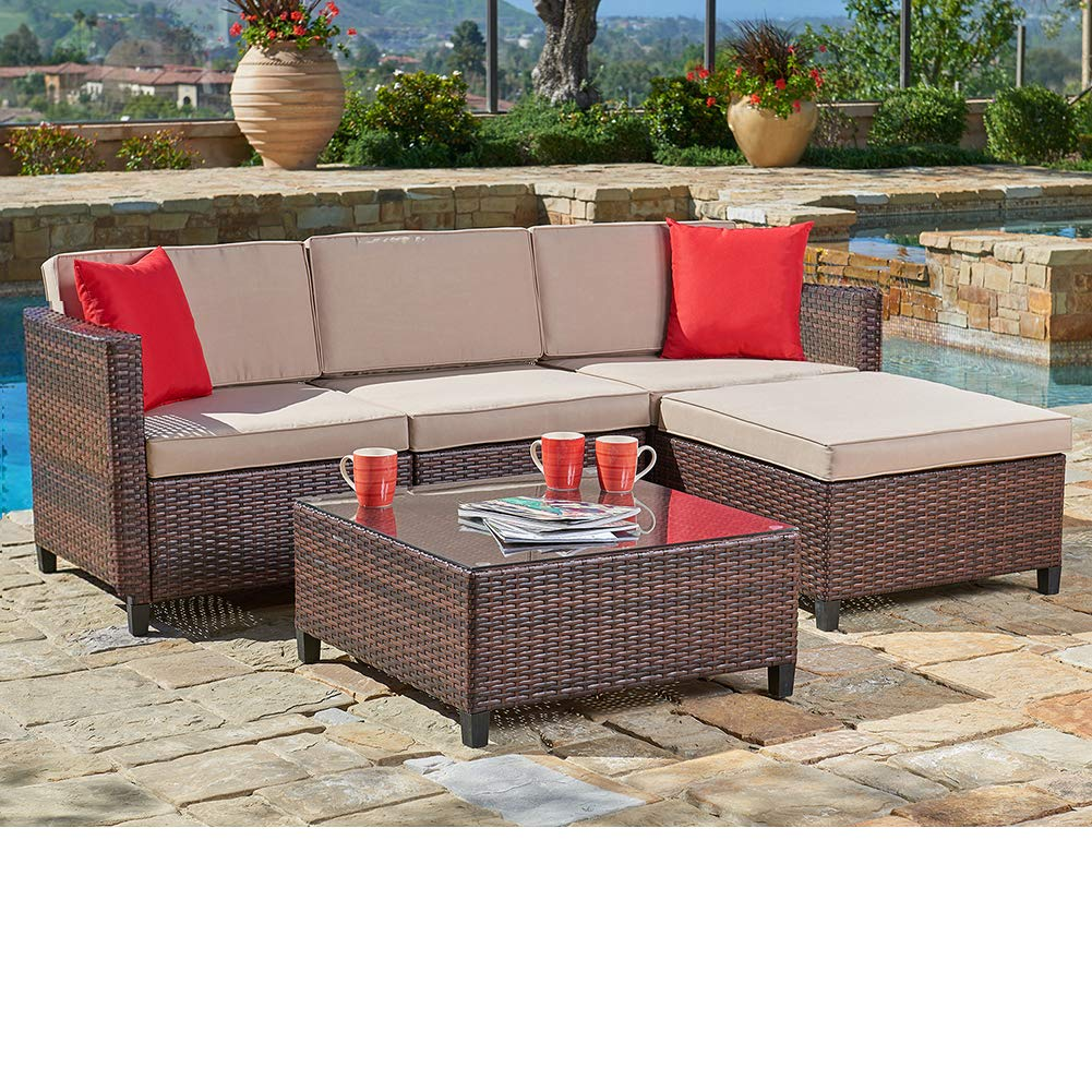 SUNCROWN Outdoor Sectional Sofa (5-Piece Set) All-Weather Brown Checkered Wicker Furniture with Brown Seat Cushions and Modern Glass Coffee Table, ...