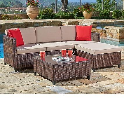 Amazon.com: Suncrown sofá seccional para exteriores ...