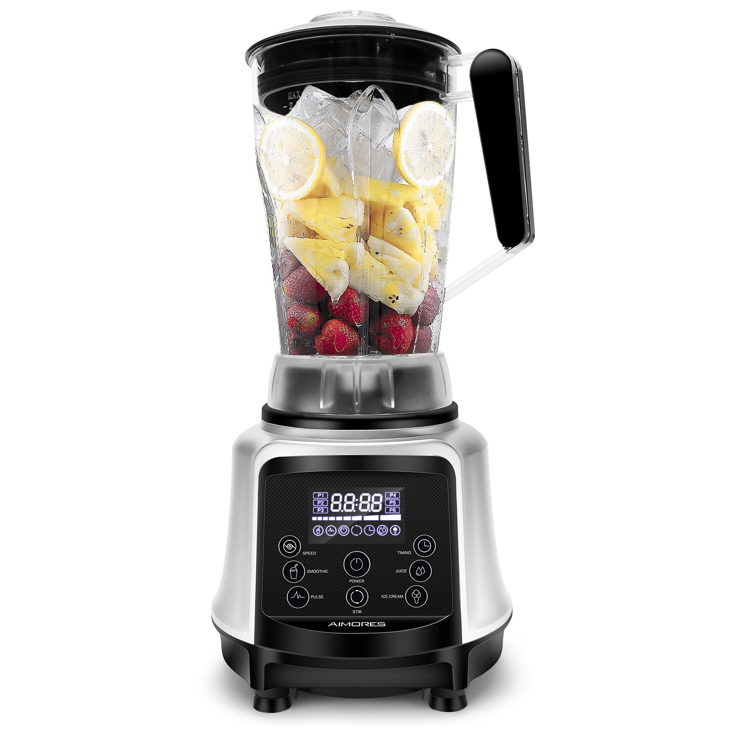 Aimores Commercial Blender for Shakes and Smoothies, Food Processor, 3-in-1 75oz High Speed Programmed Juice Blender, Smoothie Maker for Ice, 32,000RPM, with Tamper & Recipe, ETL/FDA (Black)  Food Processor  ETL/FDA (Black) ISUN AS-UP998