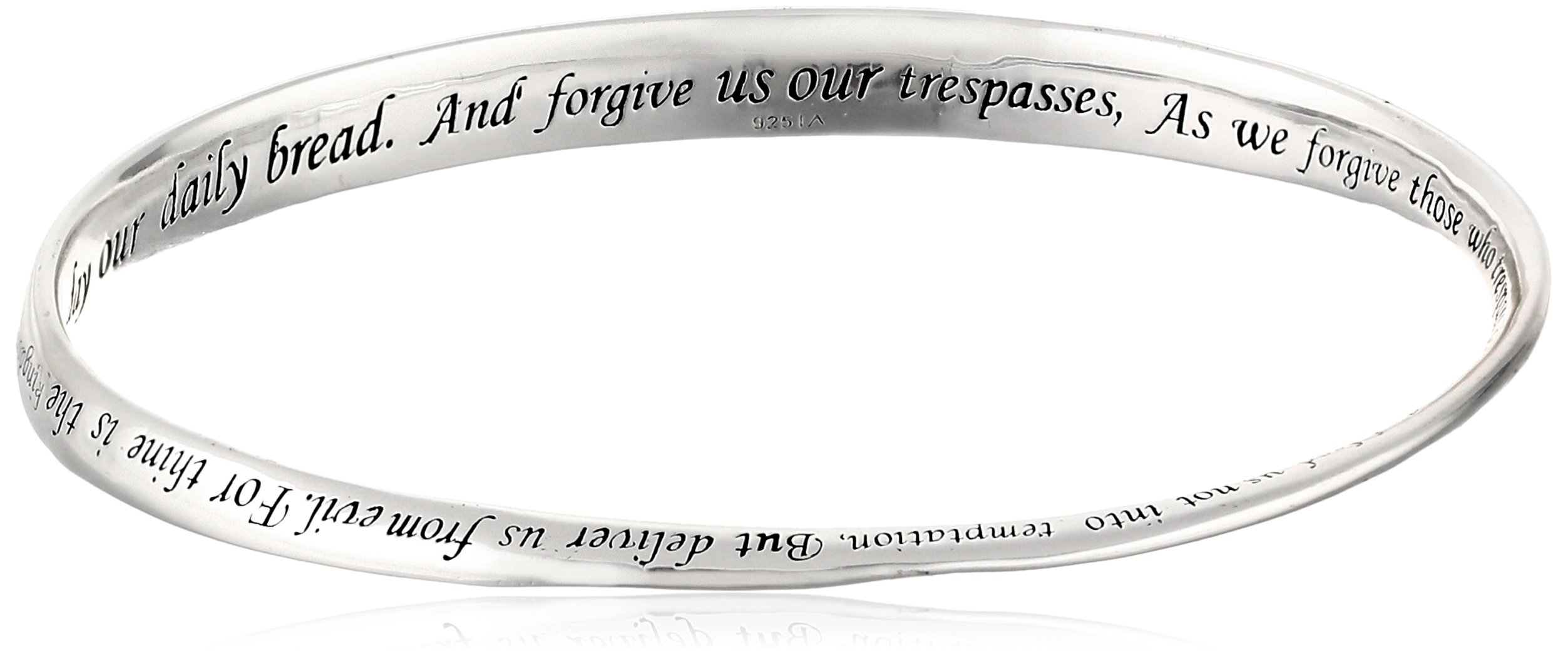 Sterling Silver ''Lord's Prayer'' Bangle Bracelet, 8.75'' by Amazon Collection