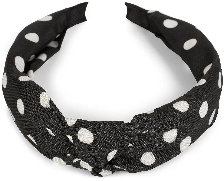 styleBREAKER Serre-tête avec motif à pois et nœud au style rétro, bandeau, femmes 04026015 Couleur:Noir-Blanc