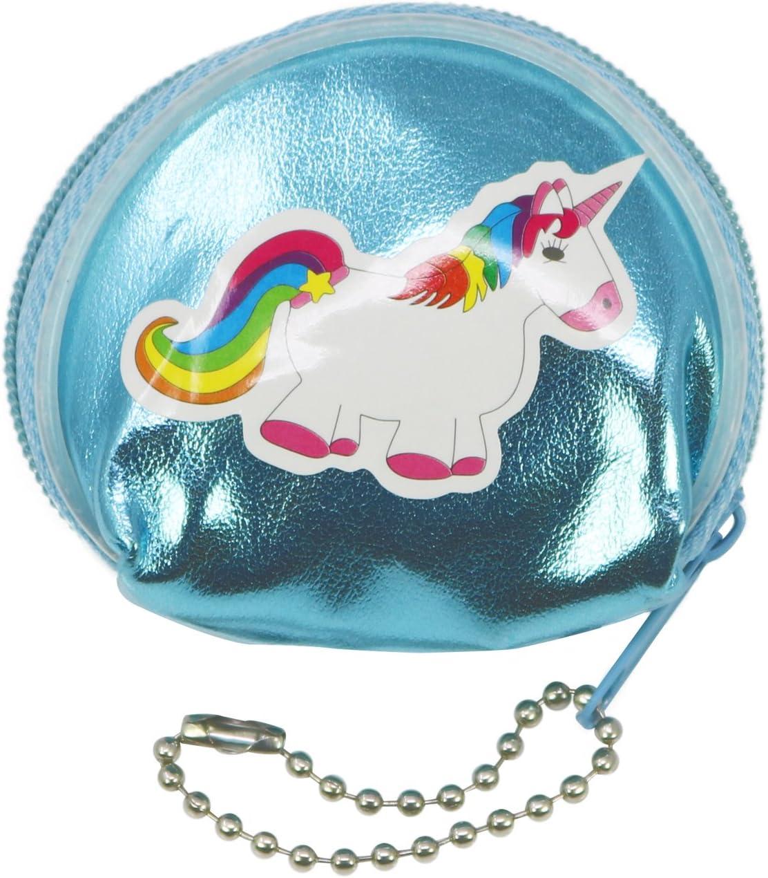 6,5 x 6 cm com-four/® 12x Mini Portafoglio con Adesivo Unicorno Viola 12 Pezzi - Unicorno Portafoglio in Rosa Blu e Argento