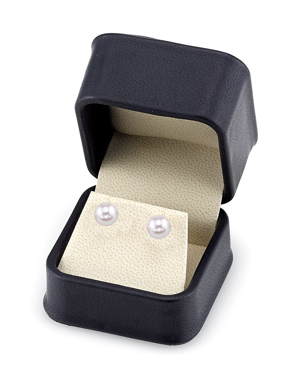 THE PEARL SOURCE 14K Gold Round White Akoya Cultured Pearl Stud Earrings for Women