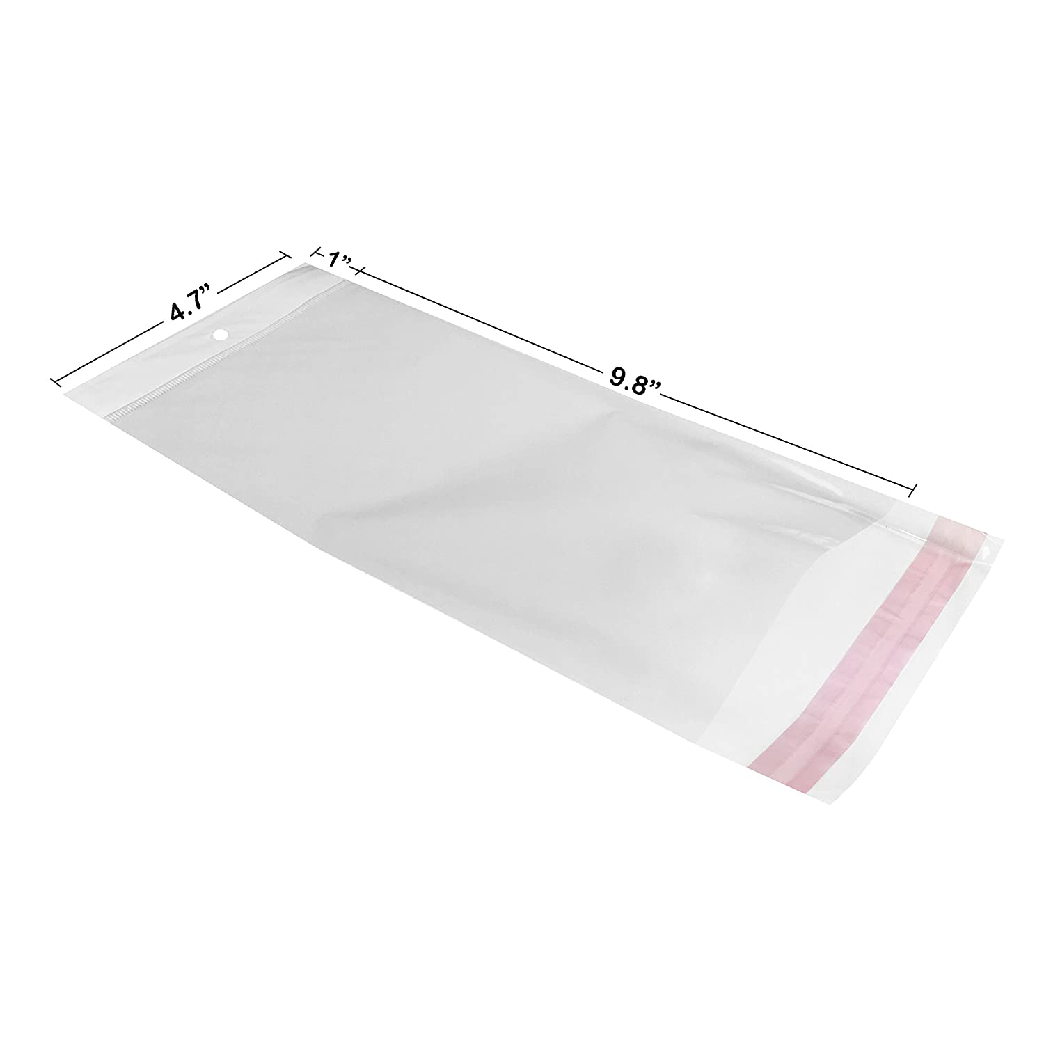 Starboxes Clear Resealable Adhesive Cellophane Bags 4.7 x 9.8 with 1.2 Lip 1.2 Mil Thick with 1 Hanging Header. Display Products with Clarity. 100
