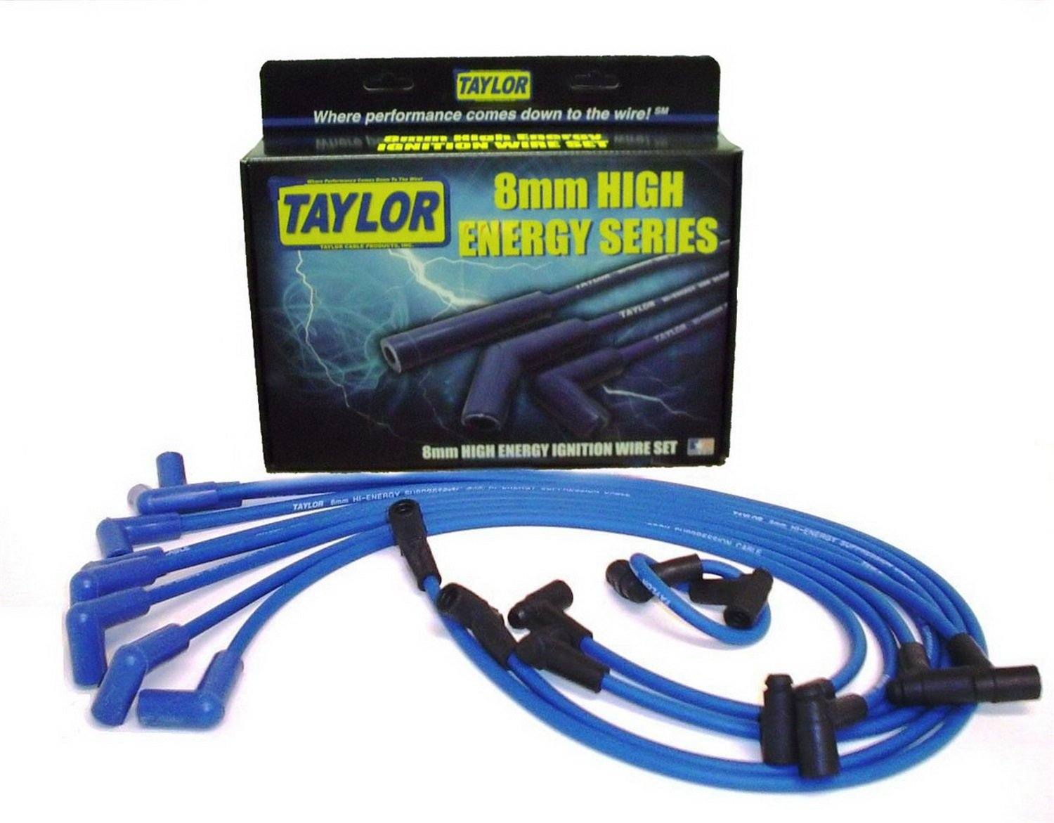 Taylor Cable 64628 Blue 8mm High Energy Spark Plug Custom Wire Set