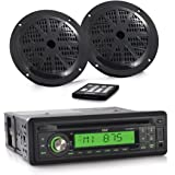 Pyle Marine Stereo Receiver & Speaker Kit [Single DIN Radio] with CD Player   MP3/USB/SD Readers   (2) 5.25'' Waterproof Speakers   Radio Splash Shield   Remote Control (PLCD14MRKT)